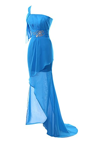 Delle Promenade Spalla I Donne Bordato Bassa Vestiti Blu Di Di Partito Nuziali Alta Royal Uno Di Chiffon Bess Del wtqpf