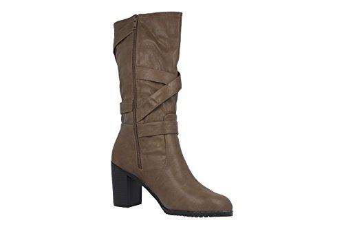 ANDRES MACHADO - Damen Stiefel - Braun Schuhe in Übergrößen