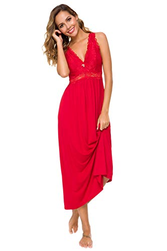 Womens Sleepwear Lace Lingerie Chemises V Neck Nightgown Long Sexy Sleep Dress Sleeveless Lace for Women Elegant (Red, Large)