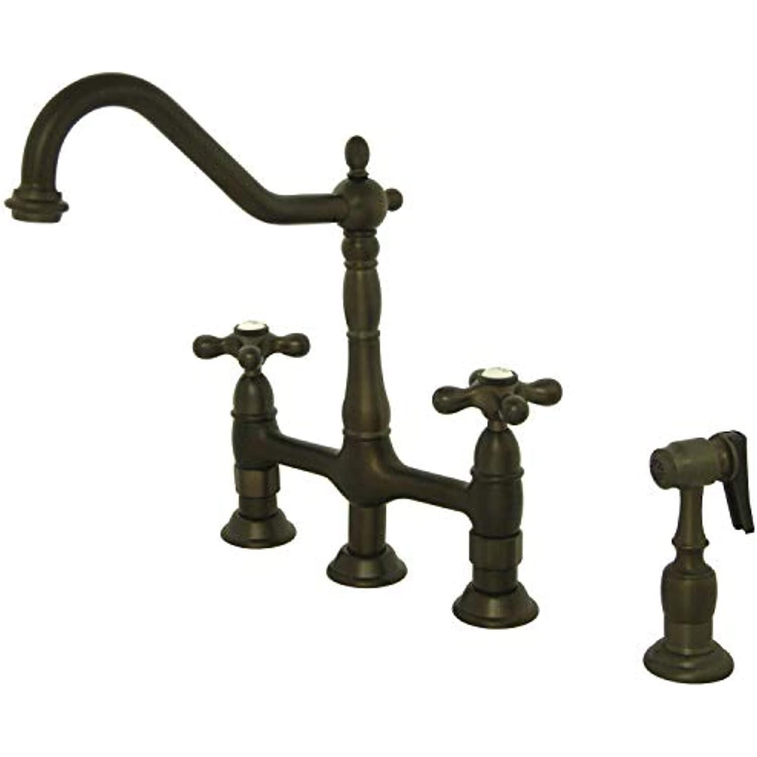Kingston Brass KS1275AXBS Heritage 8 Kitchen Faucet with Brass Sprayer, Oil Rubbed Bronze, 8-3/4 Spout Reach