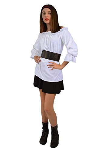 [Renaissance Long Sleeve White Blouse Women Shirt] (Medieval Shirt Adult Costumes)