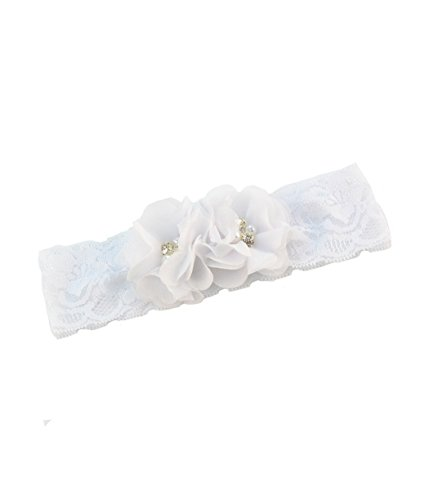 Baby Girls Lace Headband with Double Chiffon Flowers Pearl Hairband Headwrap JA68 (Lace Band)