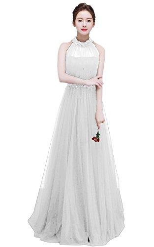 Ivory Tulle Halter Women Wedding Sleeveless BessWedding Dress Bridesmaid Long Elegant wtxUz
