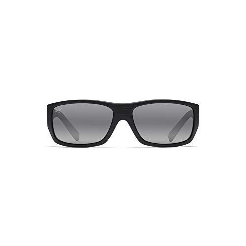 Maui Jim Sunglasses | Men's | Wassup 123-02W | Matte Black Wood Grain Wrap Frame, Polarized Neutral Grey Lenses, with Patented PolarizedPlus2 Lens Technology