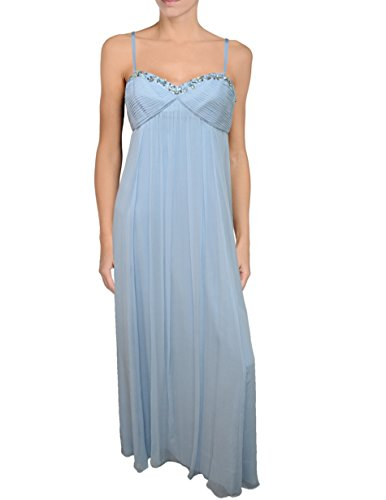 BCBG Max Azria Silk Crinkle Chiffon Beaded Evening Gown, Size 4, Light Blue (Crinkle Silk Chiffon Dress)