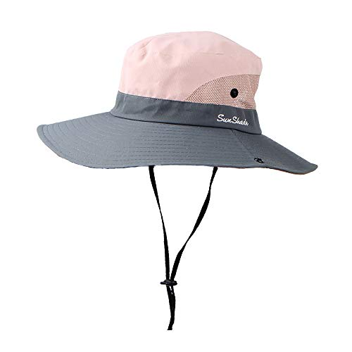 Breathable Wide Brim Fishing Hat with Ponytail Hole,Crytech Summer Uv Protection Fisherman Boonie Sun Hat Foldable Mesh Outdoor Safari Cap Lightweight Bucket Hat for Women Men (Pink)