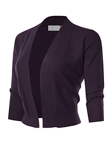 MAYSIX APPAREL 3/4 Sleeve Solid Open Bolero Cropped Cardigan For Women DARKPURPLE M
