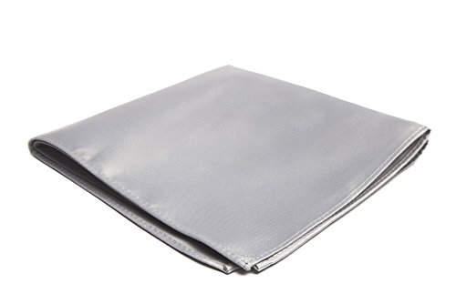 - Jacob Alexander Men's Pocket Square Solid Color Handkerchief - Silver