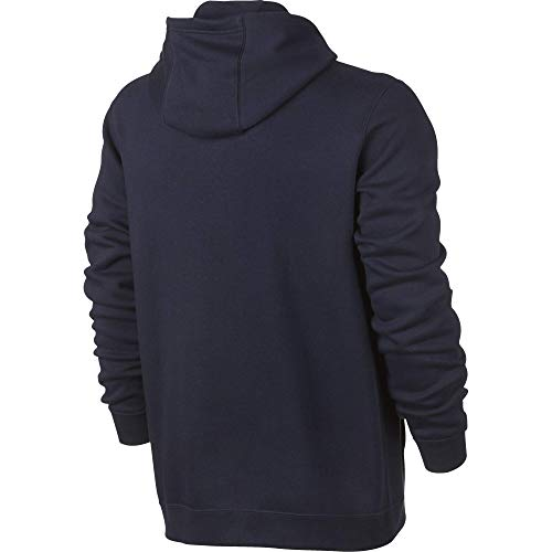Men's Nike Sportswear Club Pullover Hoodie, Fleece Sweatshirt for Men with Paneled Hood, Obsidian/Obsidian/White, L