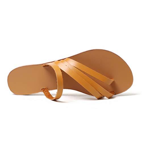 Redonda Mujer Romanas Playa Partes Cómodo Marrón Cabeza Casual Plano Para De 35 Sandalias 43 Verano Fondo 2019 Tie zwxq8IY6