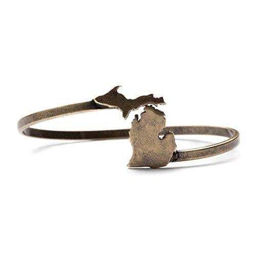 Michigan State Bracelet Bangle | Michigan Wrap Bangle Bracelet | Michigan Jewelry | Michigan Gifts | Antique Gold Plated - Michigan Antique Map