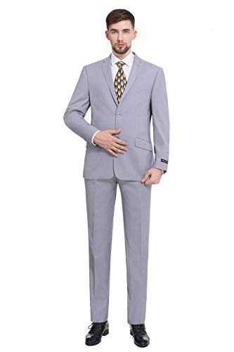 P&L Men's Premium Slim Fit 2-Piece Suit Blazer Jacket & Flat Pants Set Silver Grey