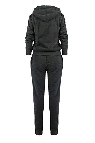Women's Athletic Fleece 2Pcs Zip Hoodie & Sweatpants Tracksuit Set Dark Grey Plus 1XL