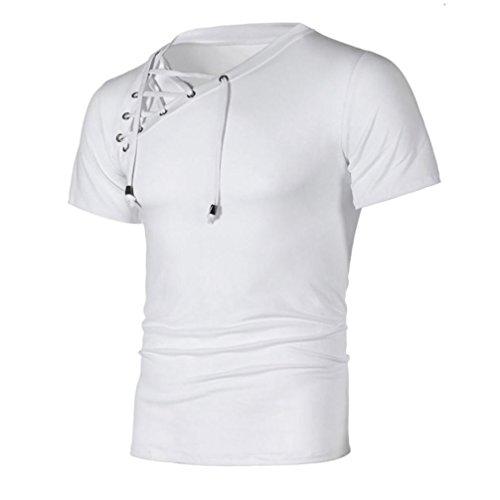 Bluestercool 2018 Printemps et Été Hommes T-Shirt Manches Courtes Bandage Tops Blanc