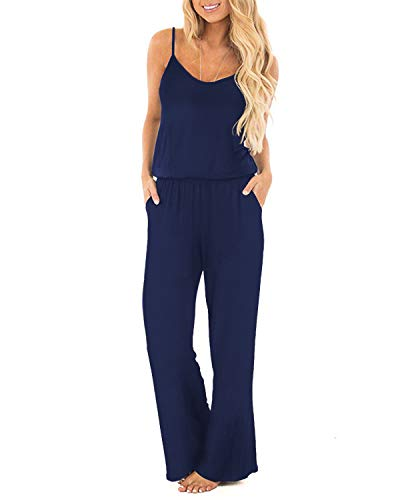 OUGES Women's Plain Sleeveless Racer Back Wide Leg Pant Jumpsuits ()