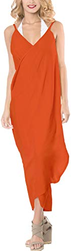 rayon LEELA da casuale spiaggia costume sciarpa Arancione lungo avvolgere donne LA bikini a305 bagno sarong pareo qpfES