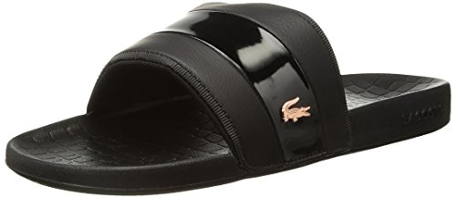 Lacoste Women's Fraisier Slides,Black/PNK Synthetic,7 M US