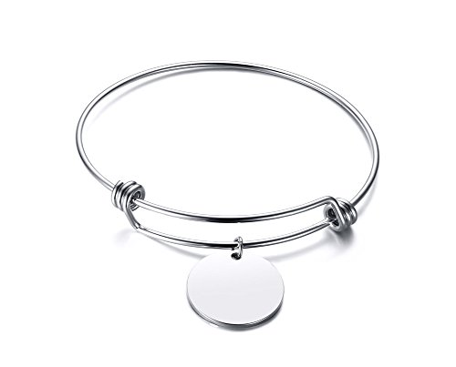 Custom Silver Charms - Mealguet Jewelry Personalized Stainless Steel Custom Engrave Round Disc Charm Expandable Wire Bangle Bracelet Gift for Women Girl,silver
