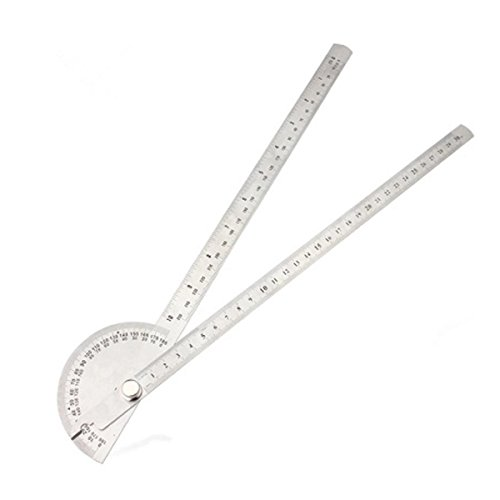 TOOGOO(R) Rotating 180 Degree Measure Protractor Metric Ruler 250mm Silver