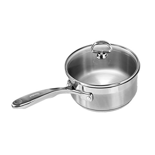 Chantal SLIN35-160 Induction 21 Steel Sauce Pan with Glass Tempered Lid (1.5-Quart)