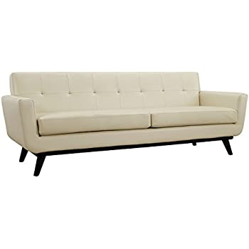 Modway Engage Mid Century Modern Upholstered Leather Sofa In Beige