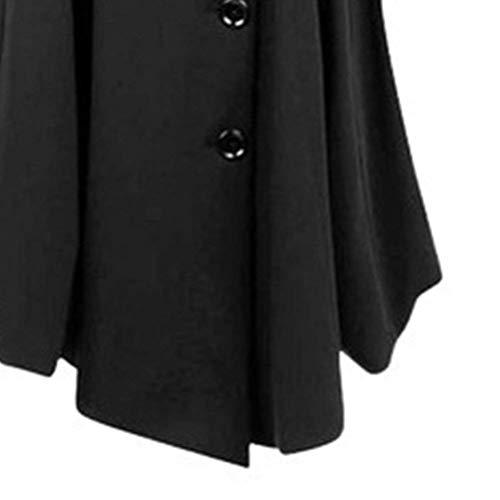 Abrigo Manga Retro Grandes Elegante Moda Largo Prendas Otoño Outerwear Mujer Botonadura Exteriores Transición Largas Tallas Invierno Fit Negro Casuales Slim Schwarz De r7r6w0