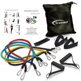Trained Best Resistance Band Set with Door Anchor, Free Ebook Workout Routines, Ankle Strap, Exercise Chart,Great For Crossfit, Men and Women, Comes With Carrying Bag.