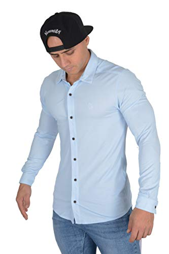 YoungLA Men's Dress Shirt Athletic Slim Fit Stretch Long Sleeve Bottom Down 415 Blue Large