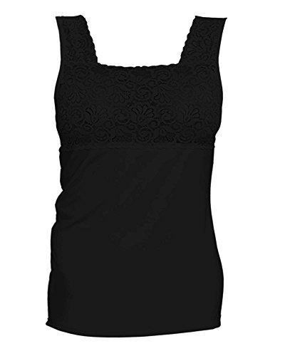 - Q-T Intimates Square Neck Cami with Lace, Black, 1X Plus