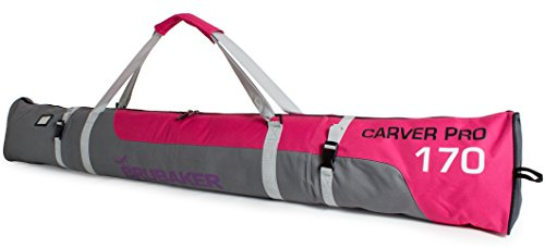 BRUBAKER Padded Ski Bag Skibag Carver Pro - Limited Edition - with strong 2-Way Zip and Compression Straps - Pink/Grey - 66 7/8 Inches (Snowboard Pink Bag)