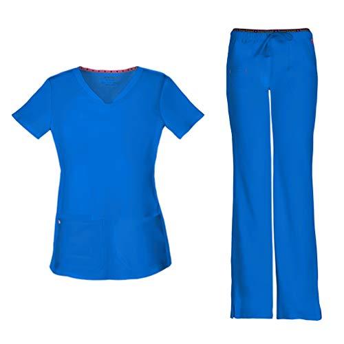 HeartSoul Women's Pitter-Pat Shaped V-Neck Scrub Top 20710 & Heartbreaker Heart Soul Drawstring Scrub Pants 20110 Medical Scrub Set (Blue Bayou - Small/Small)