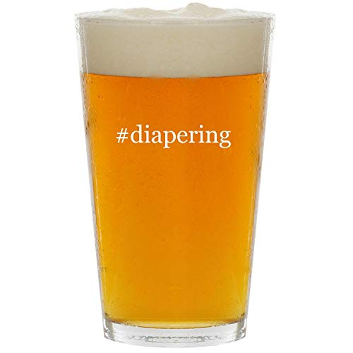 (#diapering - Glass Hashtag 16oz Beer Pint)