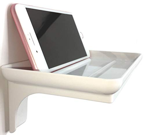 Small Plastic Bathroom Shelf for Smartphone and Flushable Baby Wipes - Stick On Wall Mount Cell Phone Holder Stand (1, White)