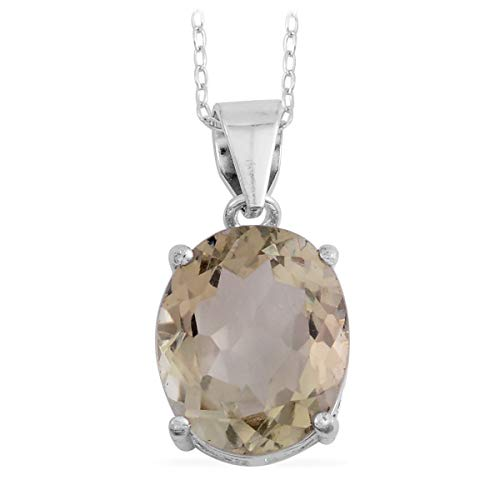 Solitaire Chain Pendant Necklace for Women Gemstones Birthstone 925 Sterling Silver Oval Green Amethyst 18