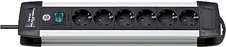 mit Schalter und 3m Kabel Brennenstuhl Premium-Alu-Line Farbe: schwarz Steckerleiste aus hochwertigem Aluminium Steckdosenleiste 6-fach