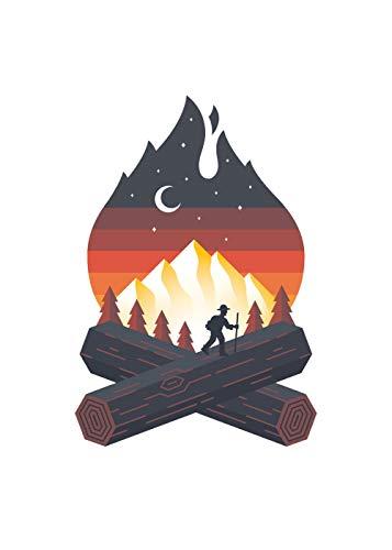 Sticker Campfire Hiker Art, Mountain Tough Outdoor, Waterproof Vinyl Decal Decal (3.75