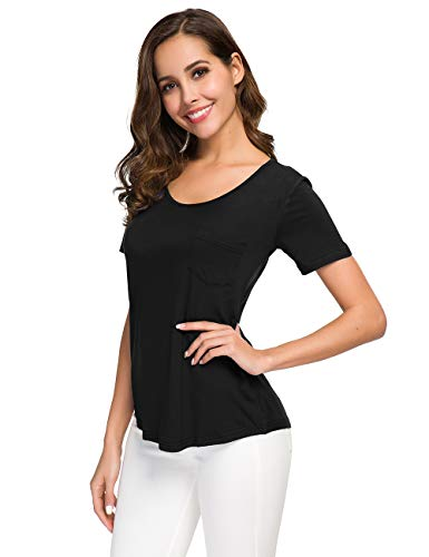 - Atnlewhi Women's Soft Cotton Plain Wide V Neck Pocket T Shirt Short Sleeve or Long Sleeve Loose Tops Comfortable Undershirt Black