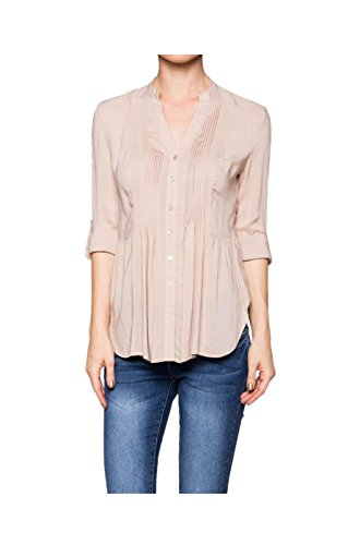 2LUV Women's 3/4 Sleeve Pleated Button Down Hi-Low Blouse Taupe M (L21444T)