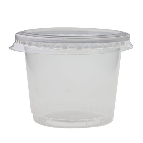 YUYIKES Plastic Disposable Portion Souffle Jello Shot Cups 1 Ounce, Package of 100 Cup With Lids (100, 1.65