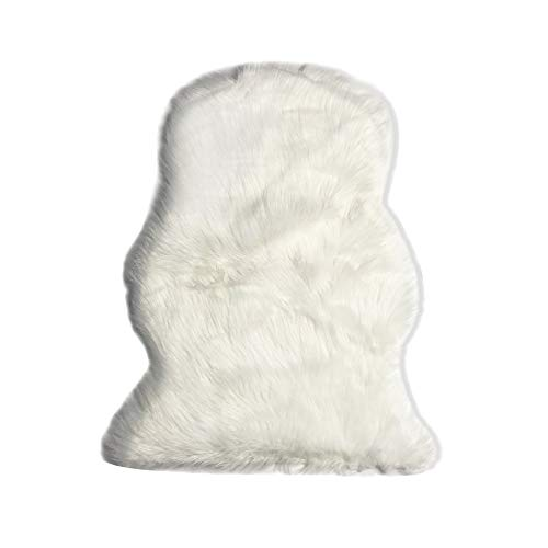 (MINGZE Soft Faux Fur Sheepskin Area Rug, Fur Chair Cover Seat Pad Throw Rug, Children's Rug Shaggy Floor Cushion for Living Room, Bedroom or Bathroom, Home Décor Accent White 20x28 inches)