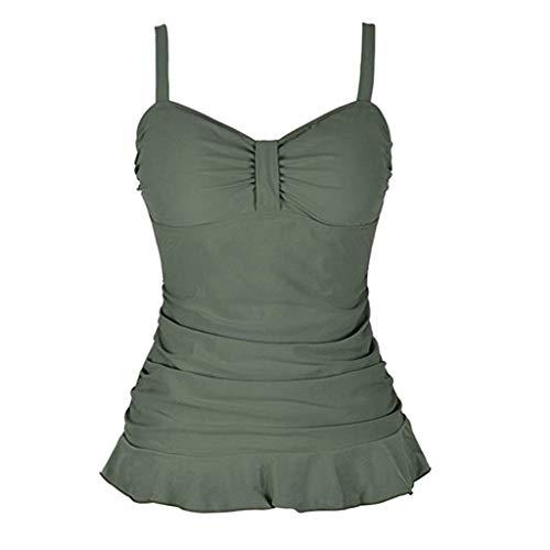 Women's Swim Top Padded Ruffle Hem Shirred Swimwear Tankini Swimsuit Tops Green