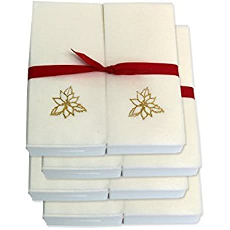 Disposable Guest Hand Towels With Ribbon Embossed With A Gold Poinsettia 750ct