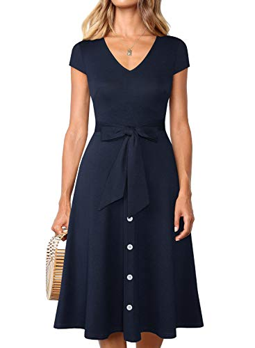 Belted Blazer - BOKALY Women's Midi Dresses with Cap Sleeve Summer Elegant Waist Tie V-Neck Button Down Flared Swing A Line Casual Party Dresses (S, Navy 01)