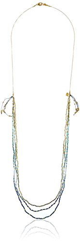 Chan Luu Long Layering Multi-Strand Blue and Gold Nugget Pendant Necklace