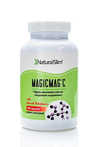 NaturalSlim Anti Stress Magnesium Capsules - Pure Magnesium Citrate Plus Potassium - Natural Aid to a Slow Metabolism, Muscle Relaxation, Constipation & Sleeping Difficulties - 500 mg - 100 Count -
