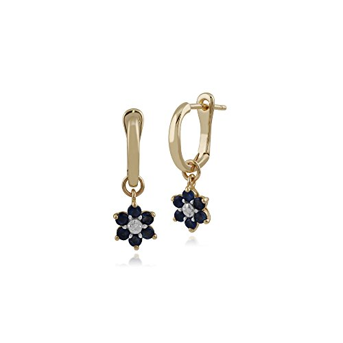 - Gemondo Sapphire Earrings, 10ct Yellow Gold Sapphire and Diamond Floral Drop Earrings