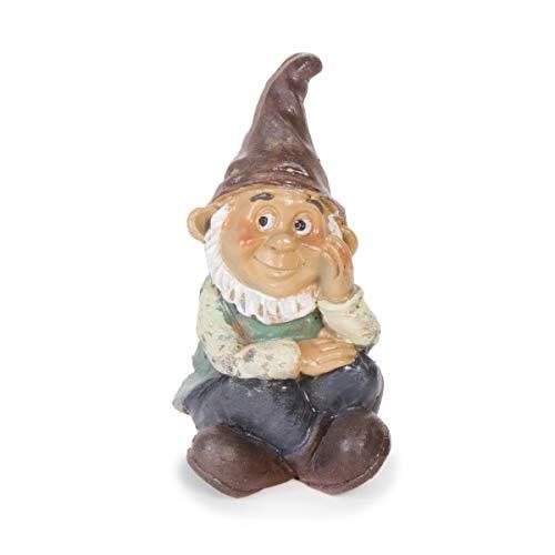Darice 13398 Mini Garden Gnome Boy Sitting Resin, 3