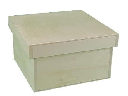greca Caja de madera cuadrada con tapa. En crudo, para decorar.