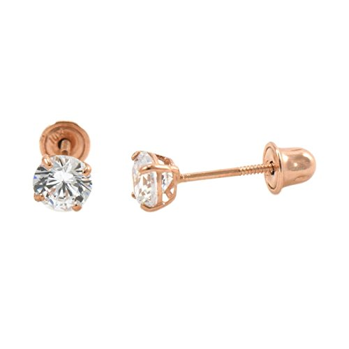 14k Rose Gold Screw Back Safety Pair Earrings Round Cubic Zirconia Sizes - Earrings Screw Rose