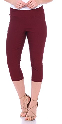 One5One Women's Shaping Stretch Pull On Dress Capri Pants Miracle Ab Shaper Burgundy Small (2-6)